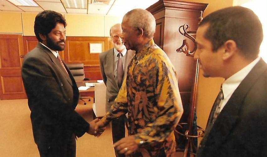 Picture of Kanthan Pillay and Nelson Mandela
